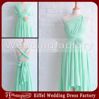 Wholesale New Asymmetrical Bridesmaid Dresses UK Mint Green A Line Sleeveless Multivariant Several Style Party Dress