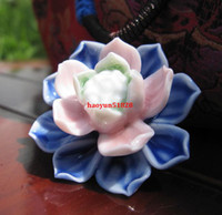 Wholesale 2014 fashion new handmade ceramic pendant necklaces Crystal Lotus designer rainbow flower necklace