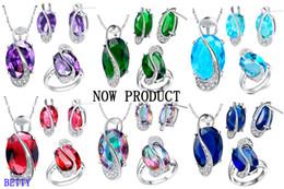 Acheter en ligne 925 ensembles de mariée-925 bijoux en or 18K collier en or pendentif bijoux bague ensemble ensembles de cristal ensembles de bijoux de mariage ensembles bijoux de mariée