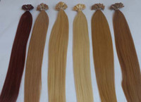 Cheap 20inch 50cm Flat Tip Keratin Hair Extensions 100% Human Indian Remy hair 24# natural blonde clour 1g s 100g 100s pack Free shipping