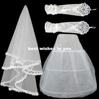 Cheap Yarn lace wedding dress bridal veil mesh veil stretch satin gloves hold three-piece suit combinations