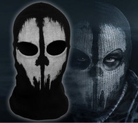 Wholesale Call of Duty COD Cosplay Balaclava Ghost Skull Face Mask Skateboard Bike Hood Caps Hats Full Face Masks Wargame Helmet performance props