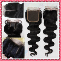 Wholesale 5A Human Hair Top Lace Closure Body wave free middle way part Queen Hair Products extensions brazilian peruvian hair weave b color