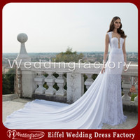autumn trailer - 2014 Berta Wedding Dresses Mermaid Plunging Sweetheart Lace Appliques Beads Gorgeous Bridal Gown with Chiffon Cathedral Train Trailer