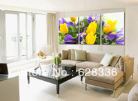 Yes Modern Yes Frame 3 Piece Printed on canvas Yellow And Purple Flower Home Decoration Modern abstract Oil Painting wall art