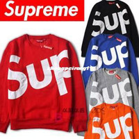 Wholesale 2013 fall and winter clothes new supreme American tide brand long sleeved sweater letter sweater for men and women couple models