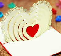 Wholesale Love heart design Handmade paper silhoue amp Creative D Pop UP Gift amp Greeting Happy Birthday Cards