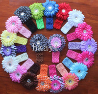 Cheap 2014 Hot Sale 36pcs headbands Crochet headband + 36pcs girls Hair flower hair clips baby hair bow clip.