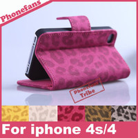 Cheap Free shipping leopard print leather Case cover For iPhone 4s 4 cases flip Leather Protective Shell Skin + Free Screen Protector
