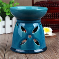 Cheap Dia 10*11cm Leaf Carving Cut Color Ceramic Aroma Essential Oil Burner Fragrance Heating Holder Party Favors DC807