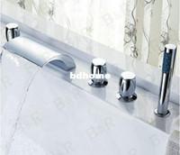 Cheap Waterfall bathtub faucet bathroom bath tub mixer taps with hand showerhead 5 pieces set 2270g LT-S203