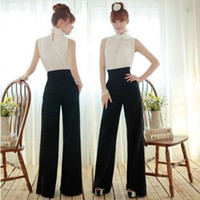 Cheap Chic Ladys Career Slim High Waist Flare Wide Leg Long Pants Palazzo Trousers