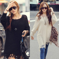 Cheap Oversized Womens Long Batwing Sleeve Jumper Loose Knit Coat Sweater Baggy Tops