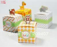 Cheap Lovely animal candy box for baby shower newborn children birthday party,cute gift chocolate bag,100PCS lot,Express free shipping