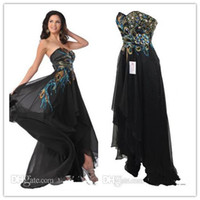 Reference Images Sweetheart Chiffon QM-2014 Fascinating Spring Fall New Backless High Low Prom Gowns Sexy Black Sweetheart Neck Appliques Beads Real Sample Peacock Dresses