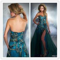 Sweetheart peacock dress - QM Fascinating Spring Fall Sexy Peacock Dresses Dazzling Sweetheart Rhinestone Beads Appliques Side Slit Floor Length Long Formal Gowns