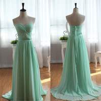 Cheap 2014 New Real Images Bridesmaid Dresses With Sweetheart Ruched Lace Up Back A Line Floor Length Chiffon Mint Prom Party Gowns Hot Customed