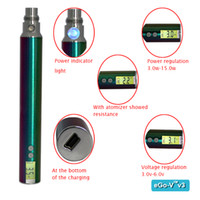 Best New arrival eGo V V3 battery variable voltage battery 1300mah iridescent stem with LCD screen