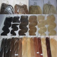 Wholesale 100g pack Loop Micro Ring Hair Extensions straight body wave Ms Quen Hair Products black brown blonde red more color hair