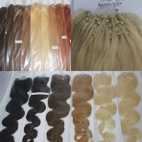 Wholesale 100strands set Micro Ring Loop Hair Extensions straight body wave g strand black brown blonde red more color human hair
