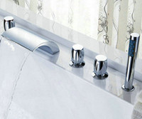 Wholesale Big Waterfall Bathroom Ceramic valve Tap Chrome Sink Tub Faucet CM0522