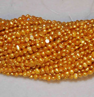 Wholesale 1 Full Strand mm Corn Seed Pearls Beautiful Gold Yellow Colors inches Freshwater Pearl Loose Beads New