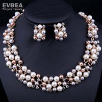 Wholesale pearl jewelry set for wedding freshwater pearl necklace set costume jewelry white pearl necklace set bridal beaded jewelry set evbea