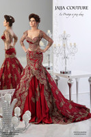 long sleeve ball gowns - Luxury Sheer Crystal Red Formal Wedding Dresses Lace Applique Mermaid Ball Gown Long Sleeve Prom Gowns Arabic Jajja Couture Dress