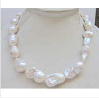 Wholesale HUGE MM NATURL SOUTH SEA GENUINE WHITE BAROQUE PEARL NECKLACE inch