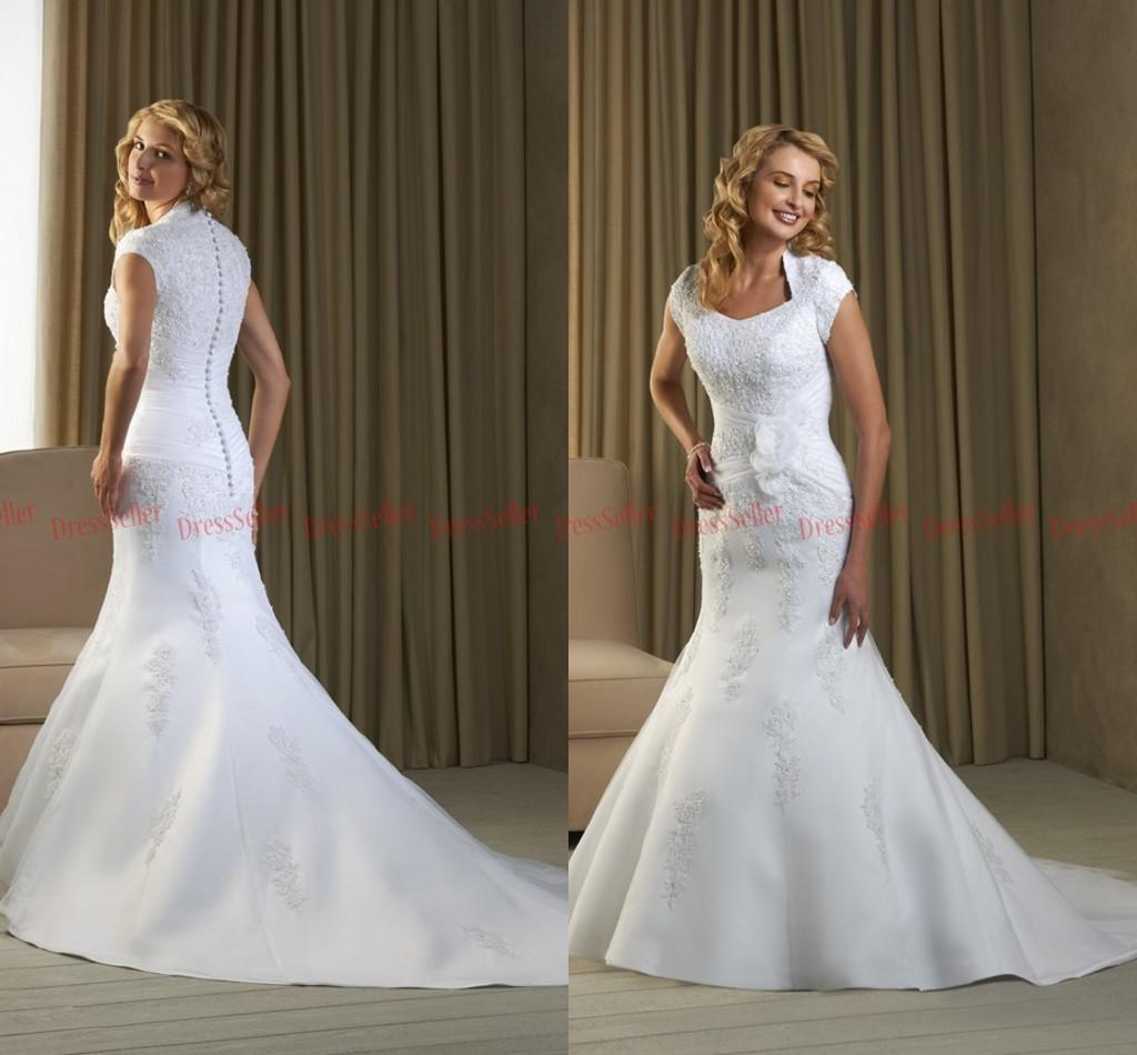 Vintage Square Neck Short Sleeves Mermaid Wedding Dresses