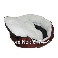 Wholesale Pet Dog Nest Puppy Cat Soft Bed Fleece Warm House Kennel Plush Mat Coffee M L