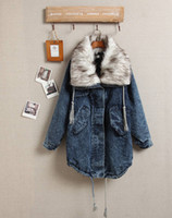 Cheap New Arrival Fashion Women Clothing Punk Warm Fur Collar Demin Casual Vintage Loose Jeans Women Trench Coat