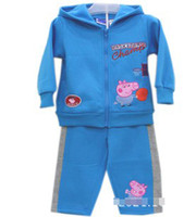 Wholesale Winter Children Boys Blue Peppa Pig Basketball Long Sleeve Hoodies Pants Tracksuit Wear Boy Athletic Clothing B2775