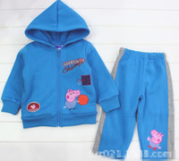 Wholesale EMS Winter Children Boys Blue Peppa Pig Basketball Long Sleeve Hoodies Pants Tracksuit Wear Boy Athletic Clothing B2775