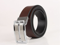 Mens Silver Gold Smooth Buckle Genuine Leather Belt Waistban...