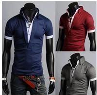 Cheap NEW Mens Casual Short Sleeve Shirts Slim Fit Polo Shirt V-neck T-shirts M-XXL