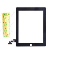 For Apple replacement touch screen panel - 50PCS Touch Screen Glass Panel With Digitizer With Buttons M Adhesive Glue Replacement Black And White For iPad Free DHL EMS