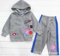 Wholesale Children Boys Blue Peppa Pig Basketball Long Sleeve Hoodies Pants Tracksuit Wear Boy Athletic Clothing B2775