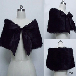 Wholesale 17 new Cheap New Black Faux Fur Pearl Ball Shrug Cape Stole Wrap With Shawl Wedding Bridal Inches