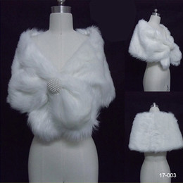 Wholesale 17 New Cheap White Faux Fur Pearl White Black Shrug Cape Stole Wrap With Shawl Wedding Bridal Inches for Winter