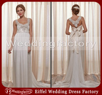 Wholesale 2014 Designer Wedding Dresses Anna Campbell Empire Scoop Sleeveless Luxury Crystals Beaded Chiffon Bridal Gown with Sash