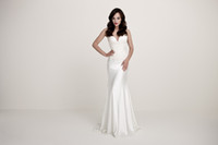 Cheap 2014 Daalarna Spring Ivory Wedding Dresses Stretch Satin Sweetheart Neck Lace Bodice Ruched Bust Mermaid Court Train Bridal Wedding Gowns