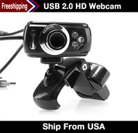 Wholesale US Stock Freeshipping Pixel USB HD Mini USB Webcam Web Cam Camera Mic For Laptop PC Desktop Computer Webcam For Tablet