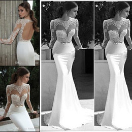 Wholesale 2014 Exclusive Lace Appliqued Wedding Dresses Crew Neck Sheer Long Sleeves Backless Sheath Chapel Train White Satin Bridal Gowns