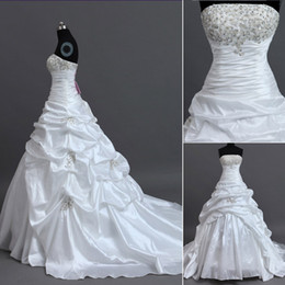 Wholesale In stock strapless embroidery beaded wedding dresses white ivory lace up pick up pleats high quality bridal gowns under real photo