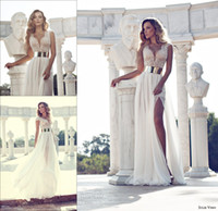 Wholesale 2014 Julie Vino Fashion Crystal Beaded Wedding Dresses Deep V Neck Cap Sleeves Gold Sashes A Line Side Slit White Chiffon Bridal Gowns