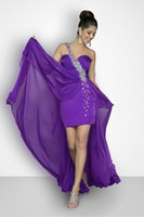 Wholesale Delicate Purple Prom Dresses One Shoulder Beaded High Low A Line Chiffon Backless Party Prom Dresses