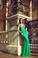 Cheap 2014 Charming Mermaid Prom Dress Sweetheart Sweep Train Short Capped Illusion Sleeve Sheer Lace Applique Green Formal Corset Evening Dress