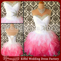 Wholesale 2014 Cheap Prom Dress White and Pink Sweetheart Ruched Ruffle Organza Short Mini Graduation Dress with Lace up and Colorful Crystals