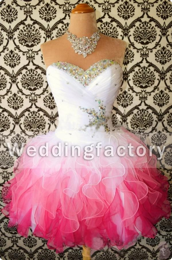 2014 cheap prom dress white and pink sweetheart ruched ruffle organza